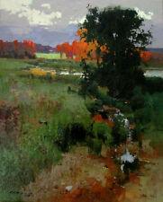 "NEW VYTAUTAS LAISONAS ORIGINAL CANVAS  ""Autumn Silence"" sunset lake OIL PAINTING"