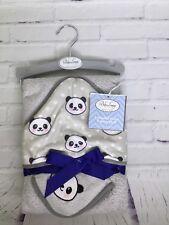 Baby Lounge Unisex Premium Hooded Cotton Bath Towel And Washcloth 2pc Set Panda