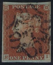 1841 1d Red Pl 41 Ei 4m Fine Used Scarce with Maltese Cross Cat. £160.00