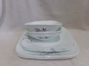 12 Pcs Corelle Royal Lines Square Dinner Luncheon Plates Bowls White Black Red