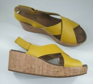Clarks size 8 D (42) yellow leather slingback platform wedge heel sandals