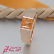RING mit 1 Citrin - mattiert / poliert - 18K/750 Gelbgold - teilrhodiniert