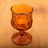 Indiana Glass Company Dark Amber Kings Crown Thumbprint Wine Goblet Vintage