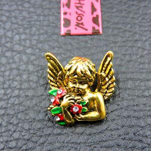 Hot Betsey Johnson Gold Enamel Crystal Charm Flower Angel Brooch Pin Gift