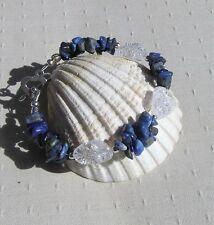 "Lapis Lazuli & Crackled Clear Quartz Crystal Gemstone Bracelet ""Bluebell Dew"""