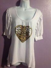 Coogi Women's Vintage Solid WHITE Rayon Top Tiger Heart Logo Causal Regular L