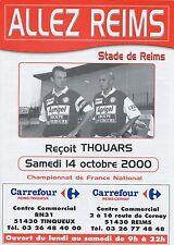 PROGRAMME STADE REIMS / THOUARS NATIONAL SAISON 2000/2001