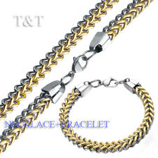 T&T 7mm Stainless Steel Two Tone SQUARE WHEAT Chain Necklace with Bracelet SET