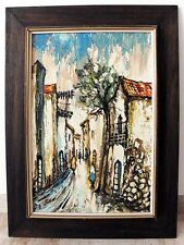 Original Oil on Canvas Framed Painting Old Cityscape - Signed - Expressionism