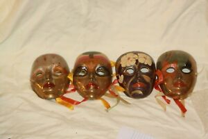 LOT of  4 Vintage Brass Decorative Mask Wall Decoration Made in India