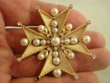 Crown Trifari Maltese Faux Pearl Rhinestone Brooch Pin As Is Read*