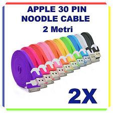 2X Cavi Dati PIATTI 30 PIN 2 Metri 2m - Iphone 3/4/4S iPad