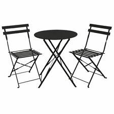 B-Ware Balkonmöbel Bistroset Stuhl Tisch Garten Bistro Metall Klappmöbel schwarz