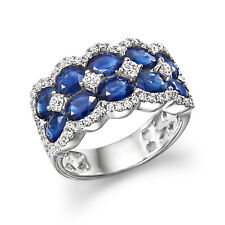 5.00 Ct Certified Diamond Oval Cut Sapphire Band 950 Platinum Rings Size M N O P