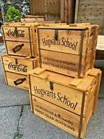 Hogwarts School Rustic Vintage Wood Storage Box Witchcraft and Wizardry Potions