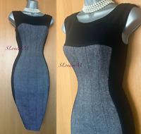 KAREN MILLEN UK 8 Classy Black Grey Tweed Wool Office Work Wiggle Pencil Dress