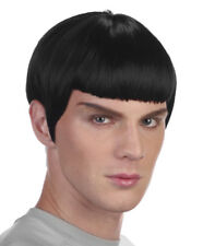 Mens Spock Wig 60s TV Star Space Fancy Dress Costume Black Headpiece NEW