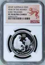 2016 P Australia PROOF Silver Lunar Year of the Monkey NGC PF70 1/2 oz Coin ER