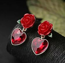 Betsey Johnson Earrings RED ROSE HEARTS Crystals Enamel pierced Adorable