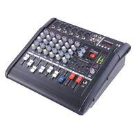 Pro 6 Channel Powered Audio Mixer Power Mixing DJ Amplifier Amp w/ USB Slot