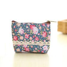 Women Girls Elegant Floral Handbag Zip Coin Bag Case Key Card Holder Purse Dark Blue