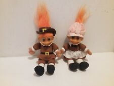 "Russ Trolls Pilgrims Thanksgiving Pair Lot Holiday Orange Hair (seated 4"" tall)"