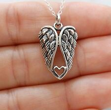 Angel Wings Heart Necklace - 925 Sterling Silver - Angels Memorial Pendant NEW