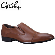 Grosby Men's Antonio Slip On Synthetic Leather Shoes Work Formal Dress - Brown