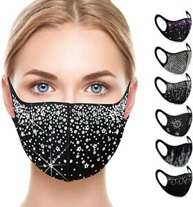Sparkly Washable Reusable Party Face Mask Mouth Masks Protective For Women