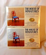 DOLL HOUSE OF MINIATURES 2 QUEEN ANNE CHAIR KITS, 4 CHAIRS, ANTIQUE REPLICAS