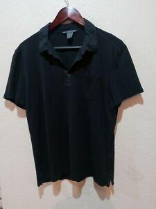 John Varvatos Collection S/S Black Silk Blend Pocket Polo Shirt Men's L