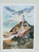 Lighthouse Wales Seascape coast art Watercolour Painting 3