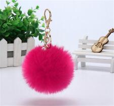 New Handbag Charm Key Ring Rabbit Fur Ball PomPom Cell Phone Car Keychain