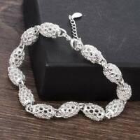 Luxury Women's 925 Silver Charm Chain Bangle Bracelet Wedding Jewelry Gifts