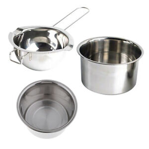 3x Stainless Steel Candle Wax Melting Pots Double Boiler Long Handle for Candle