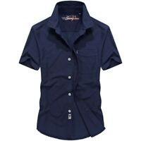 Summer Mens Cotton Short Sleeve Solid Button Front Casual Shirt Tops Comfort Hot