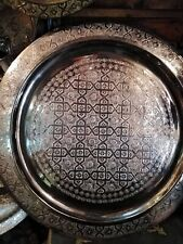 27,5'' Handmade Moroccan Traditional Brass Tray Top Round Carved Wood NEW