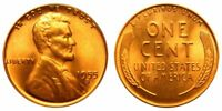 1955 S Lincoln Wheat Cent Penny , GEM BU Red , US Coin , Free Shipping!