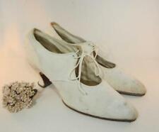 *Antique Ladies / Women's Spool Heel Canvas Shoes Vintage 1910