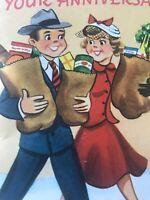 Vintage Anniversary Day Card MCM Shopping Couple Bride Groom Unused W/envelope