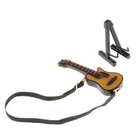 Dolls House Musical Instrument Wooden Guitar Model with Stand for 1//12 Dolls