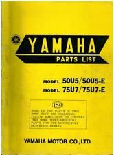 Yamaha Motorcycle Motorbike 50U5 50U5-E 75U7 75U7-E Spare Parts Manual