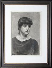 VICTORIAN PRE-RAPHAELITE PORTRAIT YOUNG WOMAN DRAWING ART c1890 BRITISH ART