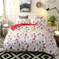 Single/Double/Queen/King Bed Quilt/Doona/Duvet Cover Set Christmas Gift Red