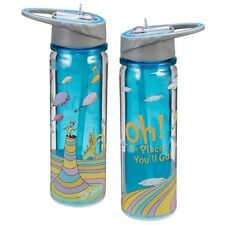 "Dr. Seuss ""Oh the places you'll go"" 18 oz Tritan Plastic Travel Water Bottle New"