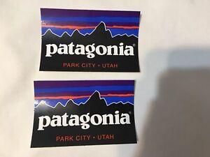 RARE Lot of 2- Patagonia Park City Utah UT Logo Sticker Decal Mountains PC