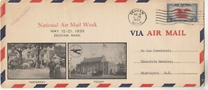 National Airmail Week 1938 Dedham MA First Flight Cover to President Roosevelt