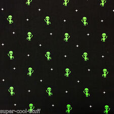FT102 Little Green Men Alien Area 51 Space Extraterrestrial Cotton Quilt Fabric