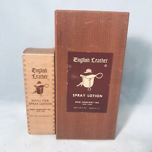 Vintage Full Bottle English Leather Refill Lotion Spray Wooden Box After Shave