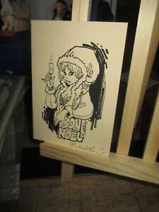 Walthéry&Graff-Carte de voeux Natacha mère noel-Signée+message  de Graff-1994